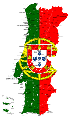 Abstract vector map of Portugal country coloured by national flag isolated on white - Detailed map of Portugal vector illustration - All elements are separated in editable layers clearly labeled.
