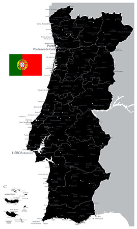 Black Map of Portugal - Detailed map of Portugal vector illustration - All elements are separated in editable layers clearly labeled.