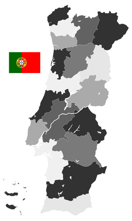 Map of Portugal Map Administrative Divisions - Detailed map of Portugal vector illustration - All elements are separated in editable layers clearly labeled. 일러스트