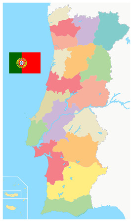 Portugal Map Administrative Divisions. No text - Detailed map of Portugal vector illustration - All elements are separated in editable layers clearly labeled.