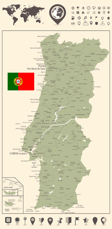 Portugal Map and and World Map with navigation icons - Detailed map of Portugal vector illustration - All elements are separated in editable layers clearly labeled.