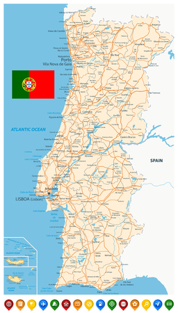 Portugal Map and Colored Map Icons - Detailed map of Portugal vector illustration - All elements are separated in editable layers clearly labeled.