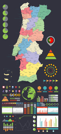 Portugal map and Infographics design elements. On Black. Business template in flat style for presentation, booklet, website and other creative projects. Illustration