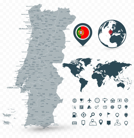 Portugal Map and World Map isolated on transparent background. Highly detailed vector illustration of map. 일러스트