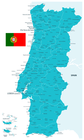 Portugal Map Aqua Colors - Detailed map of Portugal vector illustration - All elements are separated in editable layers clearly labeled.