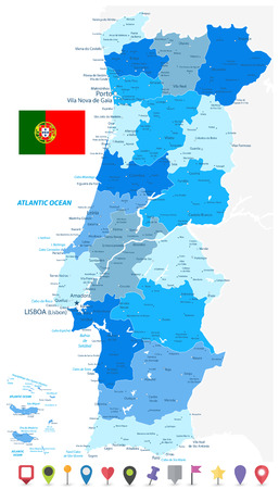 Portugal Map Blue Colors and Flat Pin Icons - Detailed map of Portugal vector illustration - All elements are separated in editable layers clearly labeled.