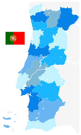 Portugal Map Blue Colors. No text - Detailed map of Portugal vector illustration - All elements are separated in editable layers clearly labeled.