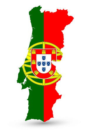 Portugal Map Coloured By National Flag Isolated on White - Vector illustration of map.