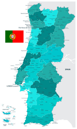 Portugal Map Teal Colors - Detailed map of Portugal vector illustration - All elements are separated in editable layers clearly labeled.