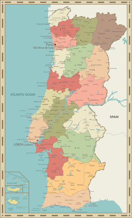 Portugal Map Vintage Color - Detailed map of Portugal vector illustration - All elements are separated in editable layers clearly labeled.