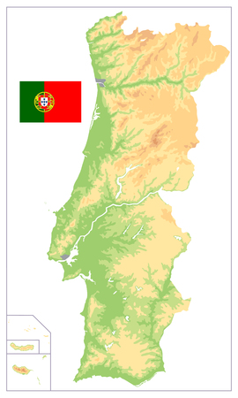Portugal Physical Map Isolated on White. No text. Detailed vector illustration of map.