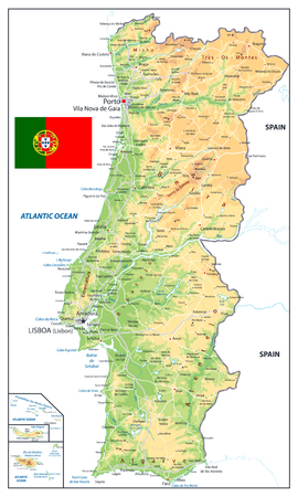Portugal Physical Map Isolated on White. Detailed vector illustration of map.