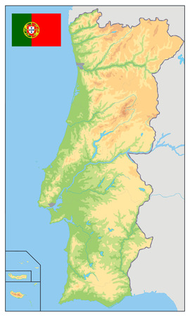 Portugal Physical Map. No text. Detailed vector illustration of map.