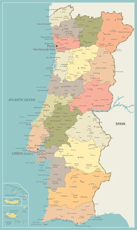 Portugal Political Map Vintage Color - Detailed map of Portugal vector illustration - All elements are separated in editable layers clearly labeled.