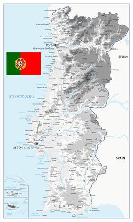 Carte physique du Portugal blanc et gris - Carte détaillée de l'illustration vectorielle du Portugal - Tous les éléments sont séparés en couches modifiables clairement étiquetées. Vecteurs