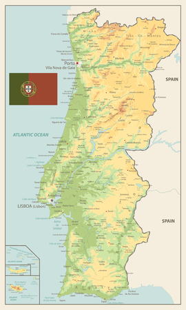 Portugal Physical Map Retro Colors - Detailed map of Portugal vector illustration - All elements are separated in editable layers clearly labeled.