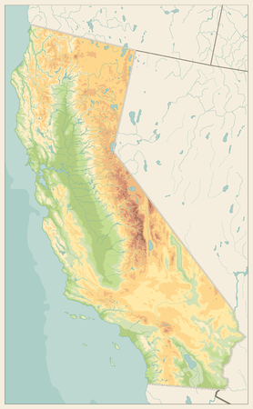 California Physical Map Retro Colors - No text - Highly Detailed Relief Map of California State vector illustration - All elements are separated in editable layers clearly labeled.
