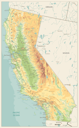 California Physical Map Retro Colors - Highly Detailed Relief Map of California State vector illustration - All elements are separated in editable layers clearly labeled. Illustration
