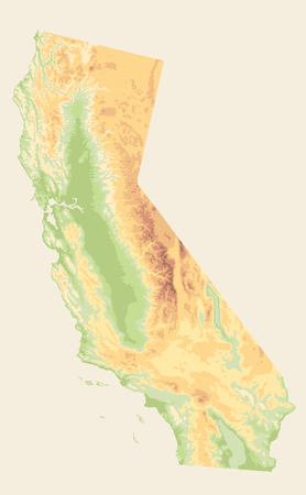 California Physical Map Vinatge Colors - Blank Map - Detailed Relief Map of California State vector illustration - All elements are separated in editable layers clearly labeled.