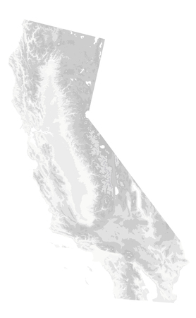 California Physical Map White and Grey Isolated On White - No text - Highly Detailed Relief Map of California State vector illustration - All elements are separated in editable layers clearly labeled. Illustration
