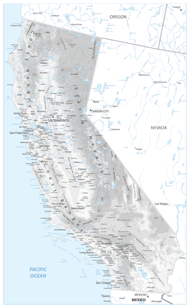 California Physical Map White and Grey - Highly Detailed Relief Map of California State vector illustration - All elements are separated in editable layers clearly labeled. Vectores