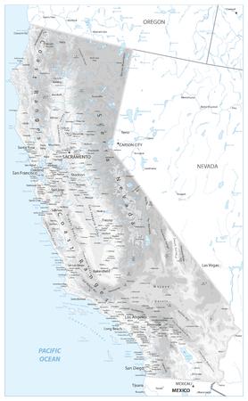 Mapa físico de California Blanco y gris - Mapa en relieve muy detallado de la ilustración vectorial del estado de California - Todos los elementos están separados en capas editables claramente etiquetadas.