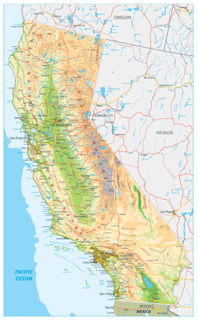California Physical Map - Highly Detailed Relief Map of California State vector illustration - All elements are separated in editable layers clearly labeled. Illustration