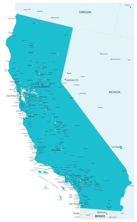 Map of California State Aqua Colors - Highly Detailed Map of California State vector illustration - All elements are separated in editable layers clearly labeled. 写真素材 - 122881065