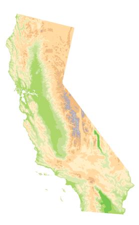 Mappa fisica della California isolata su bianco - Nessun testo - Mappa in rilievo altamente dettagliata dell'illustrazione vettoriale dello stato della California.