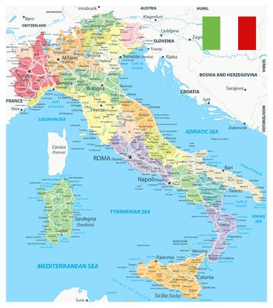 Administratieve afdelingen en wegenkaart van Italië - zeer gedetailleerde vectorillustratie van de kaart van Italië - afbeelding bevat lagen met kaart met administratieve afdelingen, landnamen, stadsnamen, waterobjecten en de namen, snelwegen en wegen.