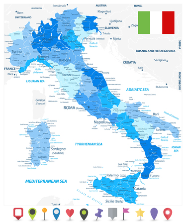 Italy Administrative Divisions Map Blue Colors and Flat Map Icons - Highly Detailed Vector Illustration of Italy Map - Image contains layers with administrative divisions map, land names, city names and flat map icons. Иллюстрация