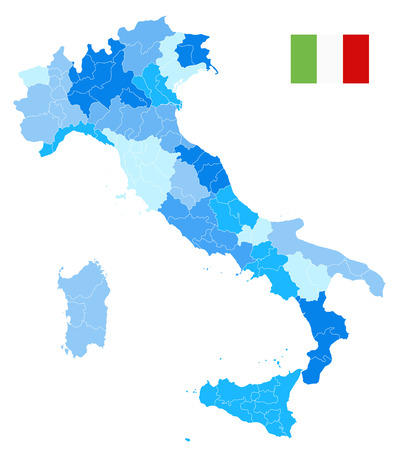 Italy Administrative Divisions Map Blue Colors Isolated On White - No text - Highly Detailed Vector Illustration of Italy Map. Ilustração