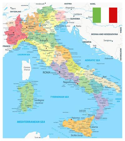Mapa de las divisiones administrativas de Italia - Ilustración vectorial muy detallada del mapa de Italia - La imagen contiene capas con el mapa de las divisiones administrativas, nombres de tierras, nombres de ciudades, objetos de agua y sus nombres. Ilustración de vector