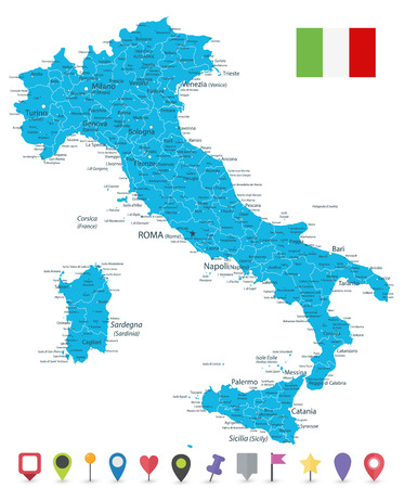 Italy Map and Flat Map Icons - Highly Detailed Vector Illustration of Italy Map.