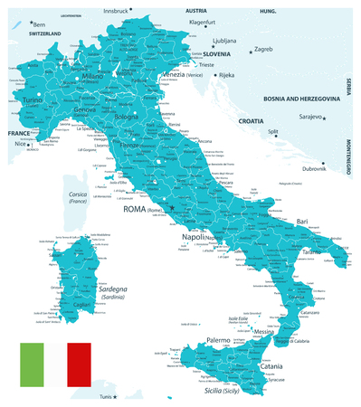 Italy Map Aqua Color - Highly Detailed Vector Illustration of Italy Map.