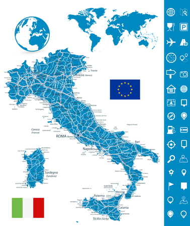 Italy Road Map and Map Navigation Set - Highly Detailed Vector Illustration of Italy Map - Image contains layers with map contours, land names, city names, highways and roads. Stock Illustratie