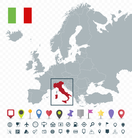Italy location on Europe Map - Transparent background - Highly detailed vector illustration of map. Иллюстрация