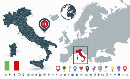 Italy Map and Italy location on Europe Map isolated on transparent background - Highly detailed vector illustration of map.