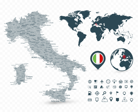 Italy Map and World Map isolated on transparent background - Highly detailed vector illustration of map. Çizim
