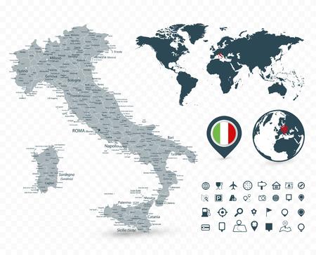 Mappa dell'Italia e mappa del mondo isolata su sfondo trasparente - illustrazione vettoriale altamente dettagliata della mappa. Vettoriali