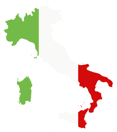 Italy Map Coloured By National Flag Isolated on White - Highly detailed vector illustration.