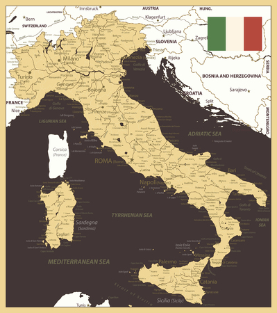 Italy Map Gold and Brown - Image contains layers with map contours, land names, city names, water objects and its names - Highly detailed vector illustration.