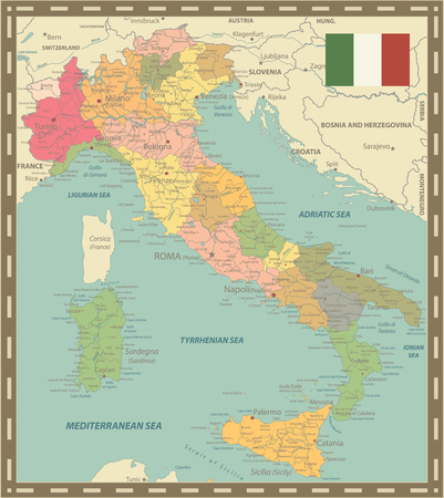 Italy Map Vintage Colors - Image contains layers with administrative divisions map, land names, city names, water objects and its names - Highly Detailed Vector Illustration of Italy Map.