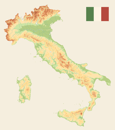 Italy Physical Map Retro Color - No text - Image contains layers with shaded contours and water objects - Highly detailed vector illustration.