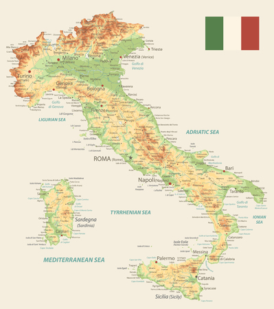 Italy Physical Map Retro Color - Image contains layers with shaded contours, land names, city names, water objects and its names - Highly detailed vector illustration.