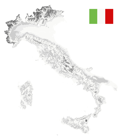 Italy Physical Map White and Grey Isolated On White - No text - Image contains layers with shaded contours - Highly detailed vector illustration. Illustration