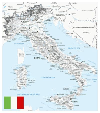 Italy Physical Map White and Grey - Image contains layers with shaded contours, land names, city names, water objects and its names - Highly detailed vector illustration.