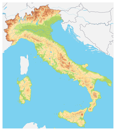 Italy Detailed Physical Map - No text - Image contains layers with shaded contours, water objects - Highly detailed vector illustration. Illustration