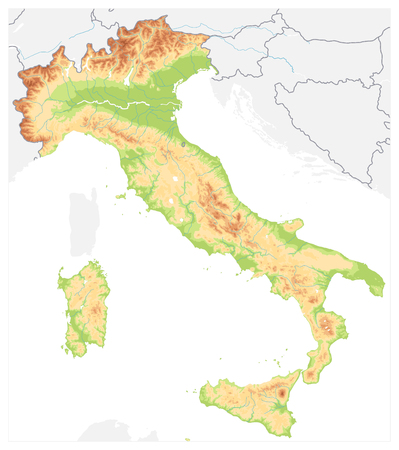 Italy Detailed Physical Map On White - No text - Image contains layers with shaded contours, water objects - Highly detailed vector illustration.