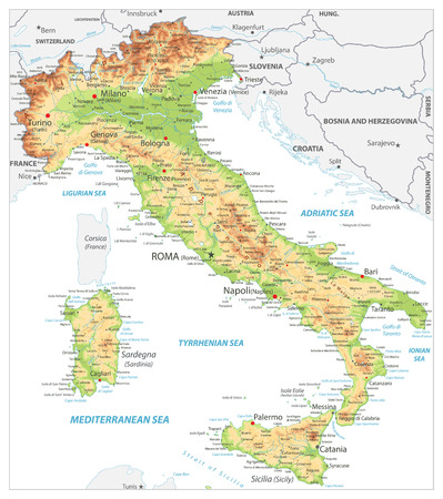 Italy Detailed Physical Map On White - Image contains layers with shaded contours, land names, city names, water objects and its names - Highly detailed vector illustration.